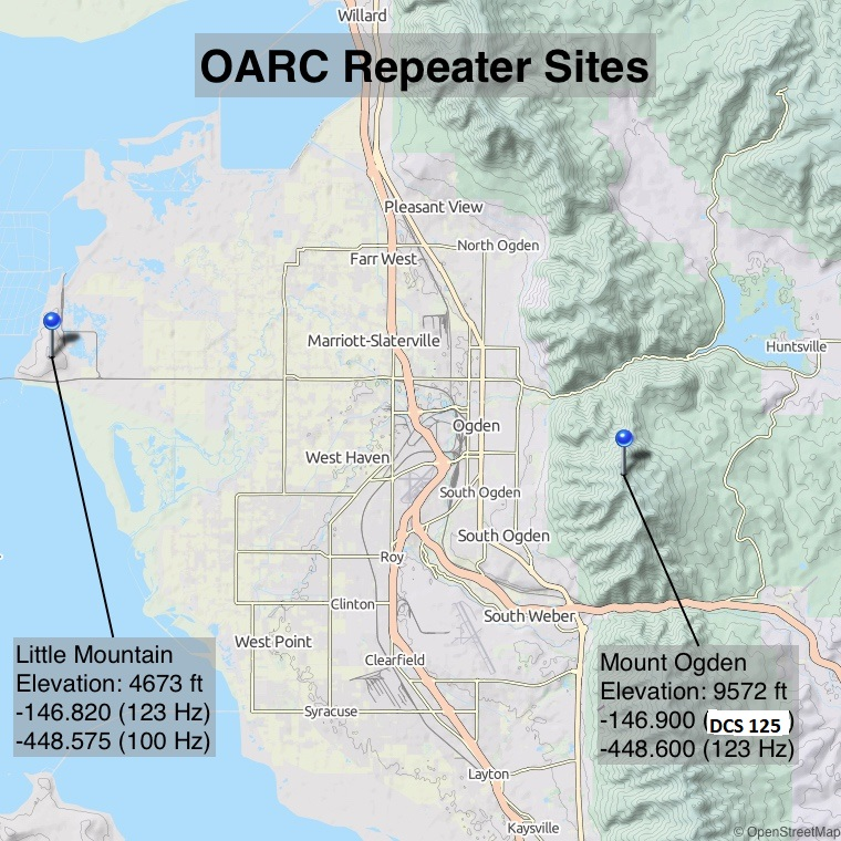 OARC Repeater Site Map